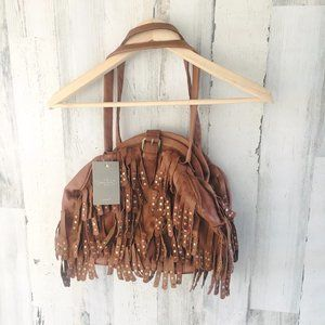 Anthropologie Lucky Penny Leather Fringe Purse Bag